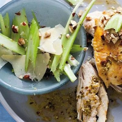 Salt-baked thai pesto chicken with celery and parmesan salad