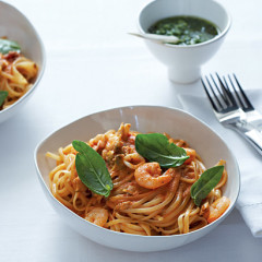 Seafood pasta with tomato and basil