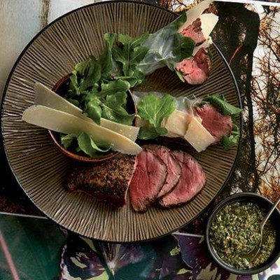 Seared beef rolled in rocket and rice paper