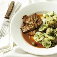 Seared beef schnitzel with salsa verde potato salad