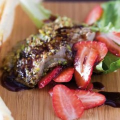 Seared chicken-liver pate with a drizzle of pomegranate