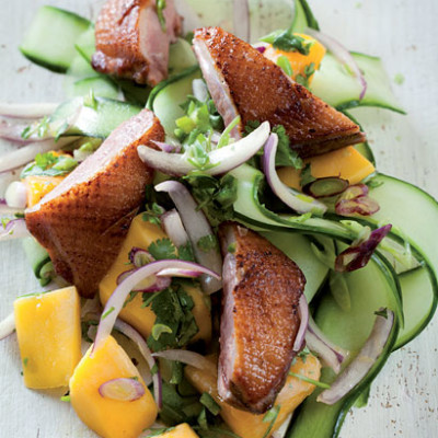 Seared duck and mango salad
