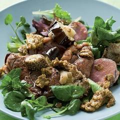 Seared lamb salad with grilled brinjals and mango atchar