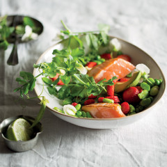Seared salmon, strawberry and broad bean salad