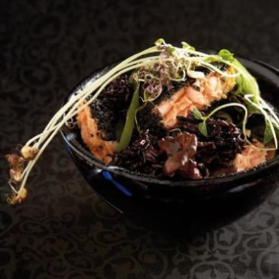 Seared salmon with black sesame crust, served with black fungi and black rice
