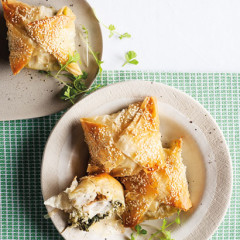 Sesame fish, feta and spinach pies