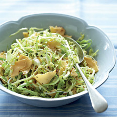 Shaved Gouda and cabbage slaw with cumin seed dressing