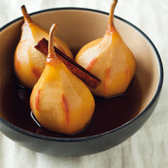 Sherry-poached pears