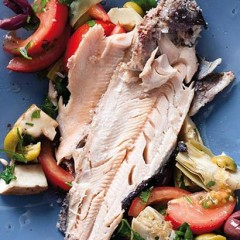 Shiraz salt-crushed trout with tomato-artichoke salad