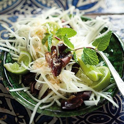 Shredded green papaya and date salad