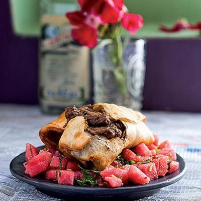 Six-hour slow-cooked beef chimichangas