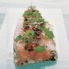 Slow-baked salmon sandwich with herbed goat cheese