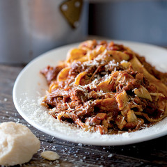 Slow-cooked sticky ragu tossed with strands of homemade pasta
