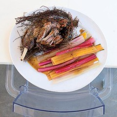 Slow-roasted leg of lamb in a nest of rosemary