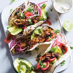 Slow roasted pork mole tacos