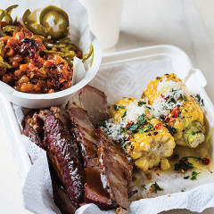 Smoked beef brisket, burnt-end beans and roast corn with chilli-and coriander salsa