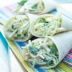 Smoked chicken and corn slaw wrap