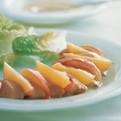 Smoked chicken and peach salad with honey-mustard dressing