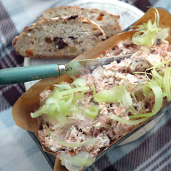 Smoked trout terrine with shallot dressing