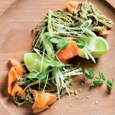 Smoked trout with watercress, tofu pesto and soba noodles
