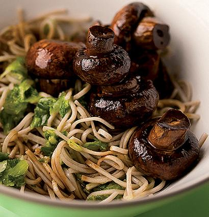 Soba noodles with soya-roast mushrooms and spring-onion ...