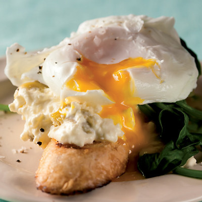 Soft-poached egg with creamed-feta and-olive toasts
