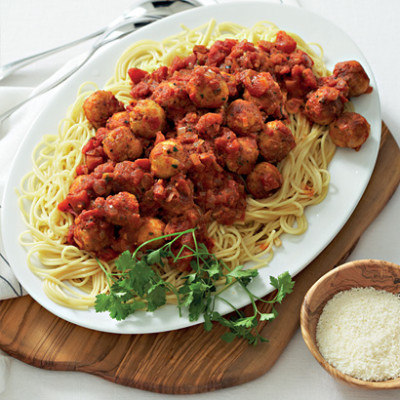 Spaghetti with chicken-Parmesan meatballs and red-pepper sauce