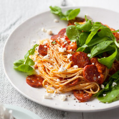 Spaghettini with cherry tomato, feta and chorizo sauce