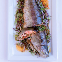 Spice-rubbed and stuffed whole roasted trout
