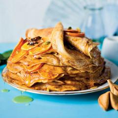 Spiced citrus, star anise, cardamom pancake stack