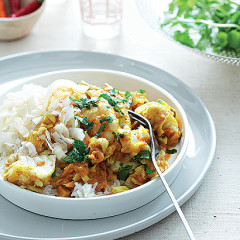 Spiced fish with cashews on coconut basmati rice