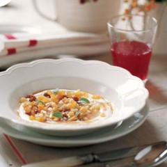 Spiced yoghurt with fresh and dried fruit confetti