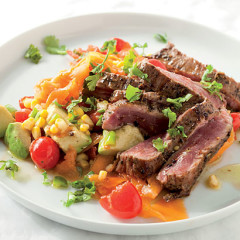 Spicy beef flank with corn and avo salsa