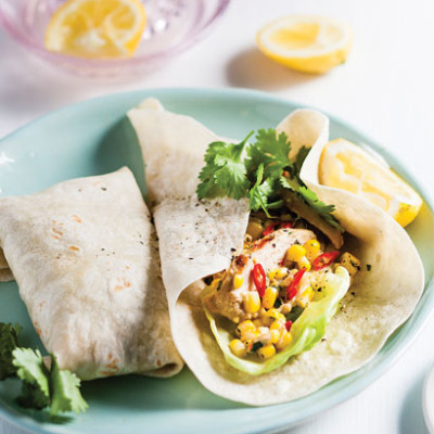 Spicy chicken-and-corn salad in wraps