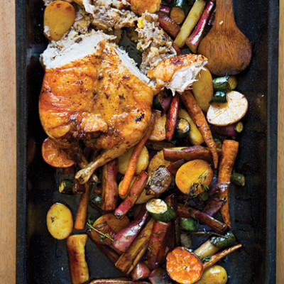 Spicy plum-and-apple free-range duck with roast baby vegetables