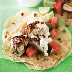 Spicy roast chicken and lime watermelon wraps