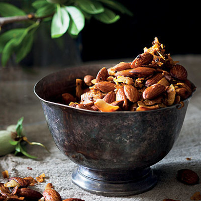 Spicy rose-and coconut almonds