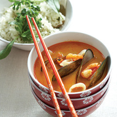 Spicy seafood broth with herbed coconut jasmine rice