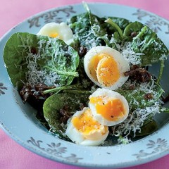 Spinach, Parmesan and soft egg salad