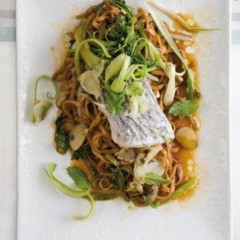 Steamed Asian fish on soy-dressed padthai noodles