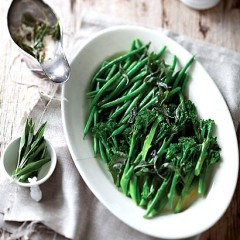 Steamed greens with crispy sage butter