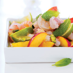 Steamed prawn, lime and nectarine salad
