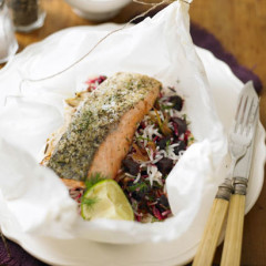 Steamed salmon with spiced beetroot and dill