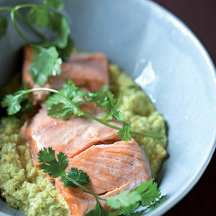 Steamed salmon with Thai corn puree