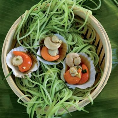 Steamed scallops with cucumber noodles
