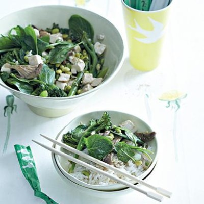 Steamed tofu, oyster mushrooms and greens