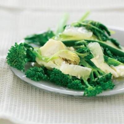 Steamed veggies and ricotta with lemon dressing