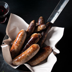 Sticky mustard grilled sausages