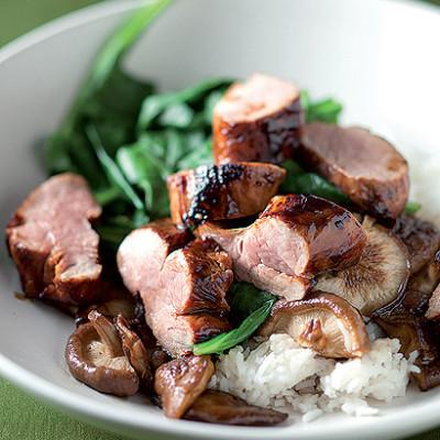 Sticky rice with sweet soya pork