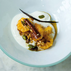 Sticky sugar-and-spice-infused satsuma served with Greek yoghurt